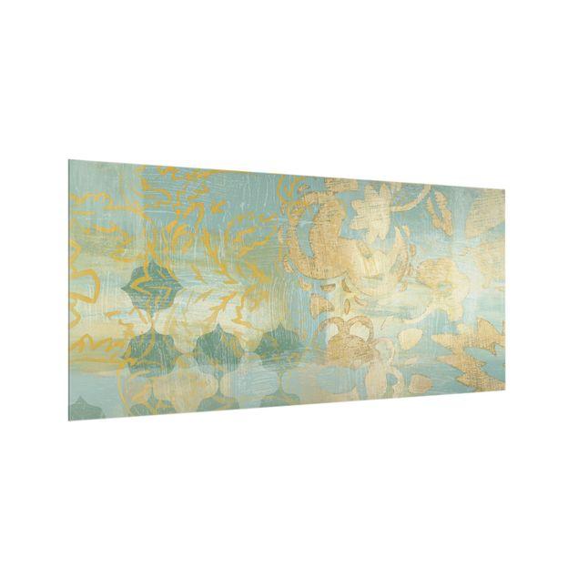 Spritzschutz Glas - Marrokanische Collage in Gold und Türkis II - Querformat 2:1