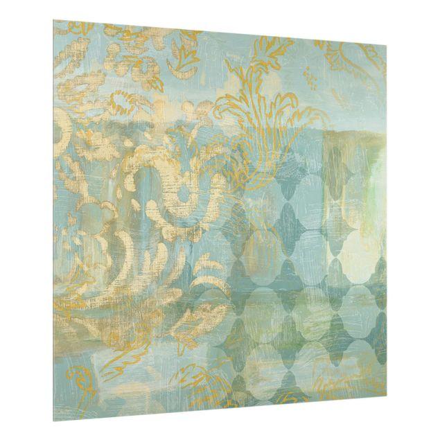 Spritzschutz Glas - Marrokanische Collage in Gold und Türkis - Quadrat 1:1