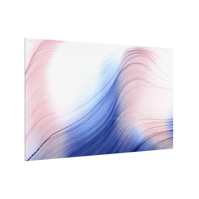 Spritzschutz Glas - Melierter Farbtanz Blau mit Rosa - Querformat 3:2