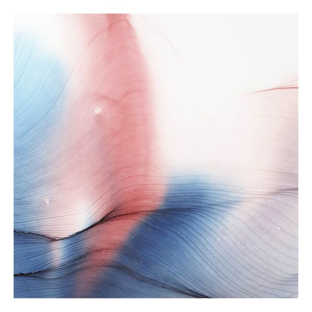 Spritzschutz Glas - Melierter Farbtanz in Blau mit Rot - Quadrat 1:1