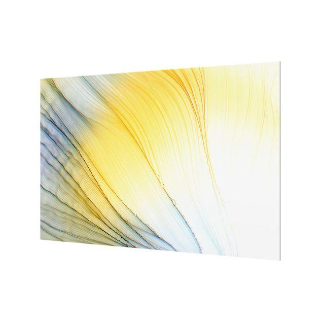 Spritzschutz Glas - Melierter Farbtanz in Honig - Querformat 3:2