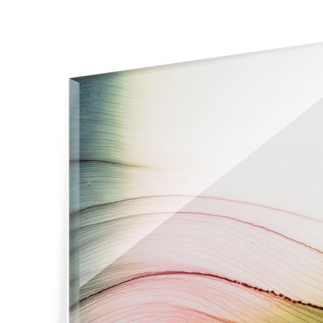 Spritzschutz Glas - Melierter Farbtanz Rosa Gelb mit Türkis - Quadrat 1:1
