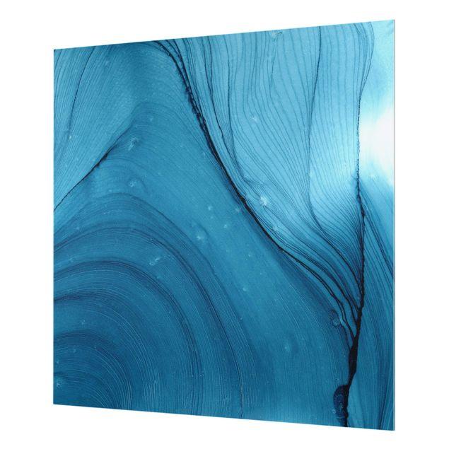 Spritzschutz Glas - Meliertes Blau - Quadrat 1:1