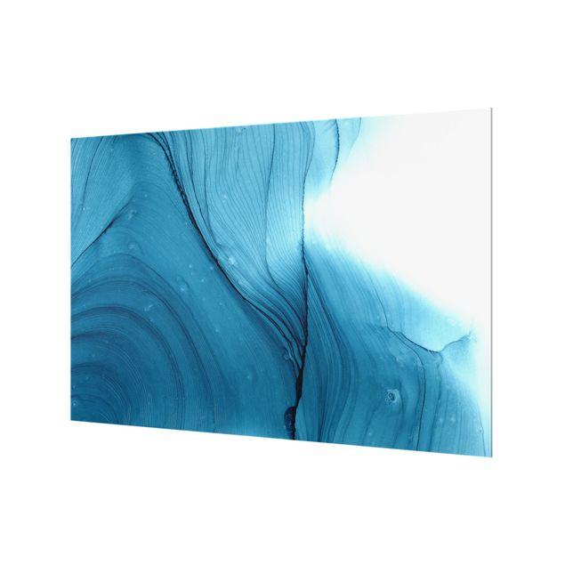 Spritzschutz Glas - Meliertes Blau - Querformat 3:2