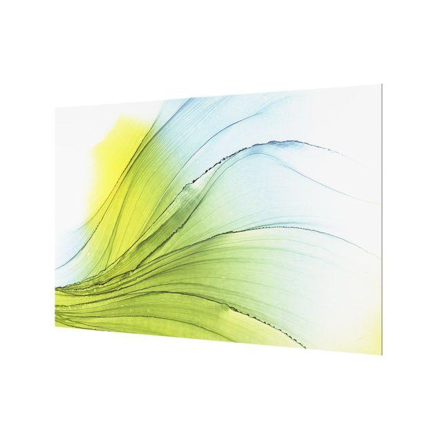 Spritzschutz Glas - Meliertes Gelb mit Himmelblau - Querformat 3:2