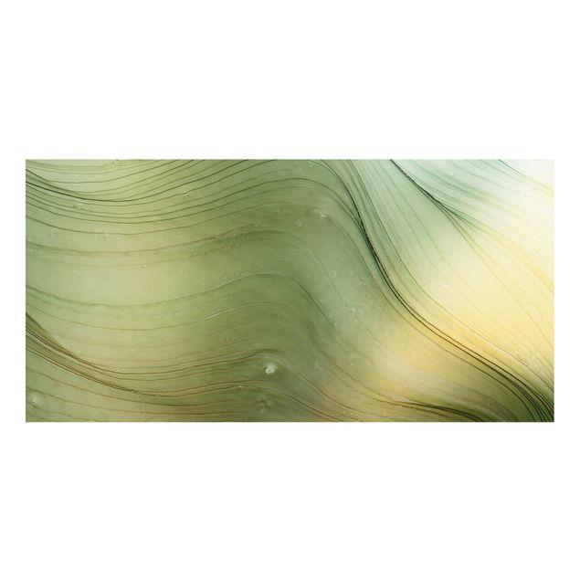 Spritzschutz Glas - Meliertes Grün mit Honig - Querformat 2:1