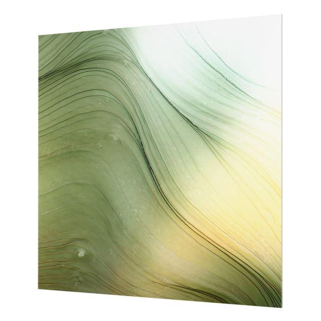 Spritzschutz Glas - Meliertes Grün mit Honig - Quadrat 1:1