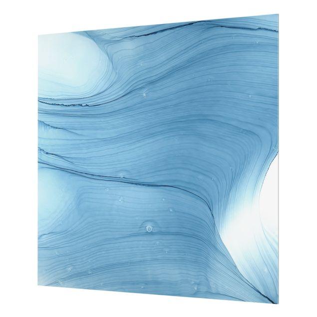 Spritzschutz Glas - Meliertes Mittelblau - Quadrat 1:1