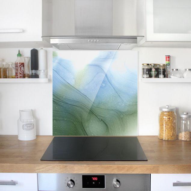 Spritzschutz Glas - Meliertes Moosgrün mit Blau - Quadrat 1:1