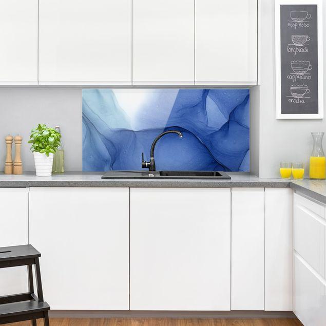 Spritzschutz Glas - Meliertes Tintenblau - Querformat 2:1