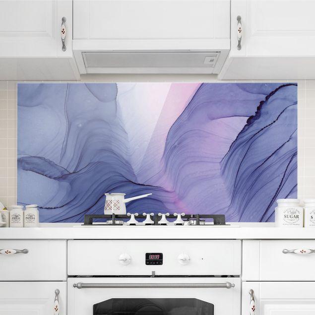 Spritzschutz Glas - Meliertes Violett - Querformat 2:1