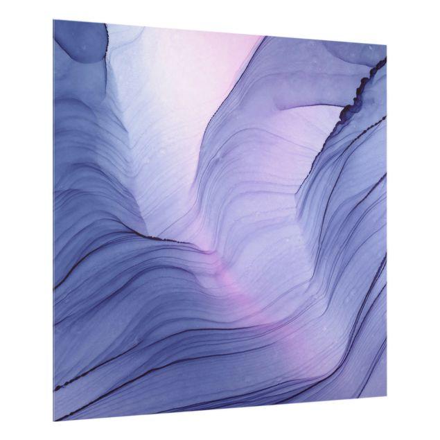 Spritzschutz Glas - Meliertes Violett - Quadrat 1:1