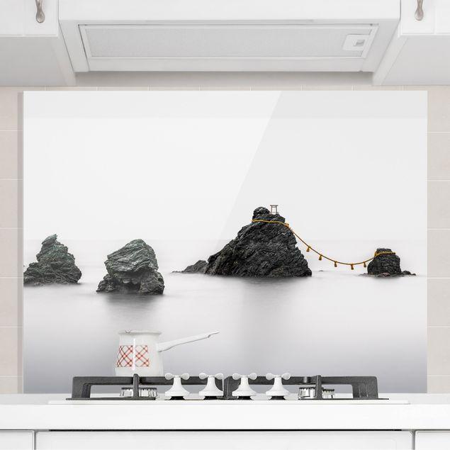 Spritzschutz Glas - Meoto Iwa - die verheirateten Felsen - Querformat 4:3