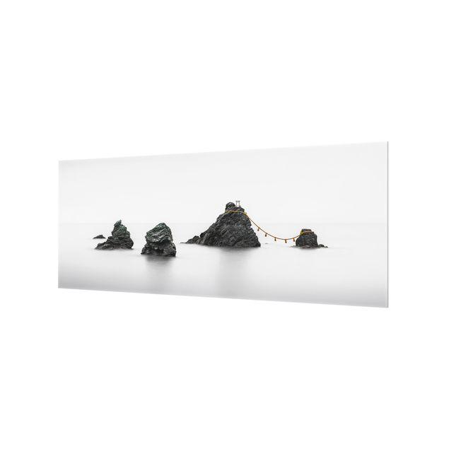 Spritzschutz Glas - Meoto Iwa - die verheirateten Felsen - Panorama 5:2