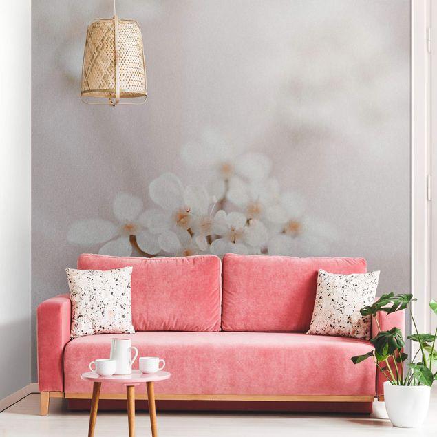 Metallic Tapete - Miniblüten im Rosanen Licht