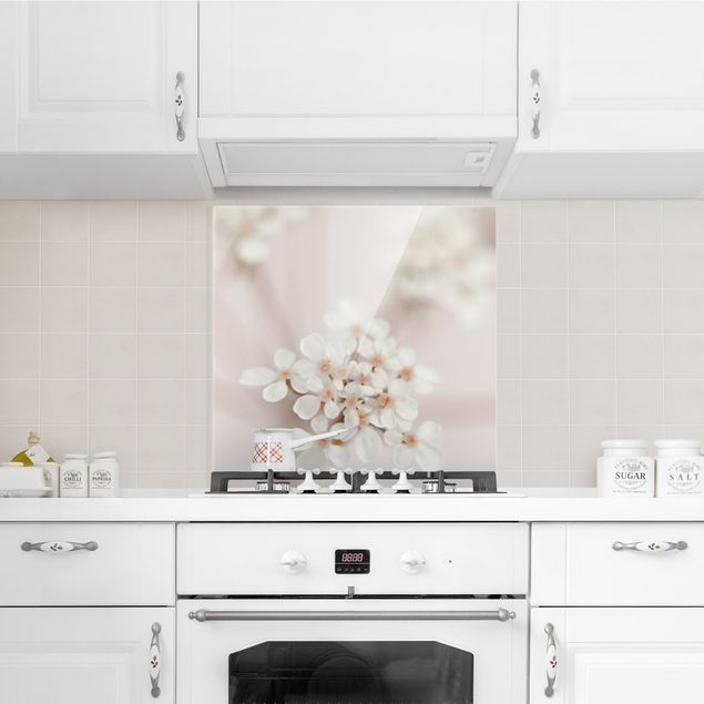 Spritzschutz Glas - Miniblüten im Rosanen Licht - Quadrat 1:1