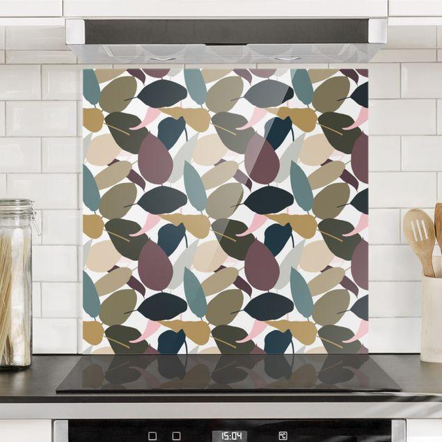 Spritzschutz Glas - Modern Tropical Muster - Quadrat 1:1