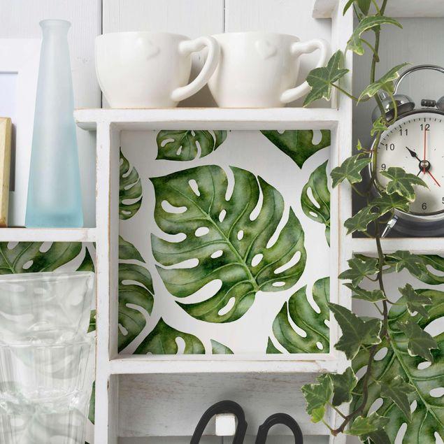 Möbelfolie - Aquarell Monstera Blätter