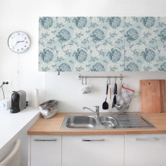 Möbelfolie - Hortensia Vintage Küchen-Blumenmuster - Klebefolie für Möbel