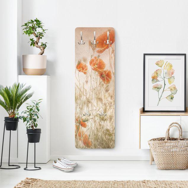 Garderobe - Mohnblumen und Gräser im Feld