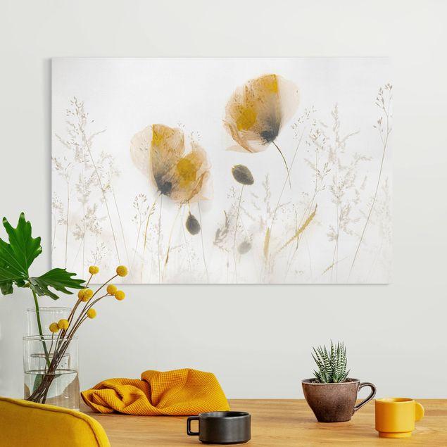 Leinwandbild - Mohnblumen und zarte Gräser im weichen Nebel - Querformat 3:2