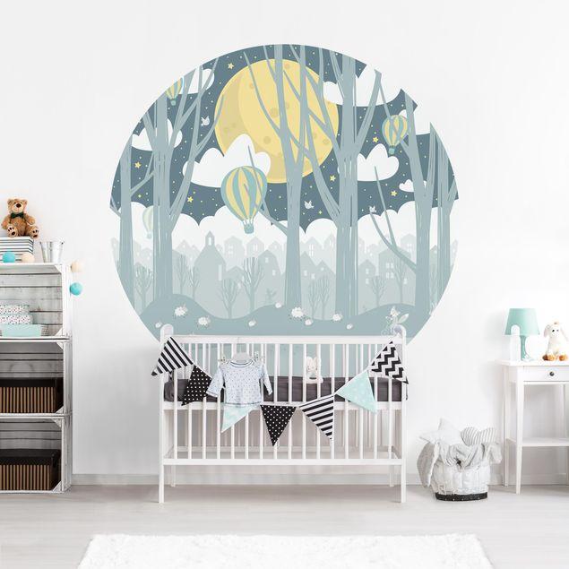 Runde Tapete selbstklebend - Mond mit Bäumen und Häusern