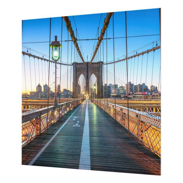 Spritzschutz Glas - Morgenblick von der Brooklyn Bridge - Quadrat 1:1