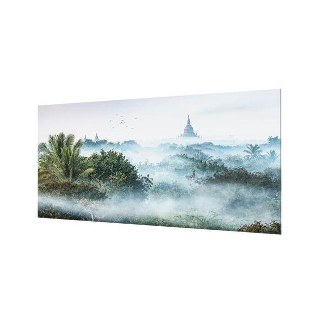 Spritzschutz Glas - Morgennebel über dem Dschungel von Bagan - Querformat 2:1