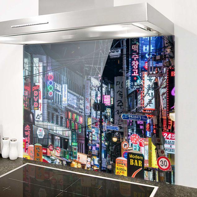 Spritzschutz Glas - Nachtleben von Seoul - Querformat 4:3