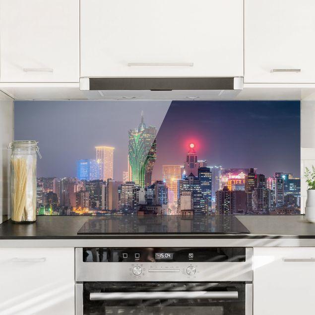 Spritzschutz Glas - Nachtlichter von Macau - Panorama 5:2