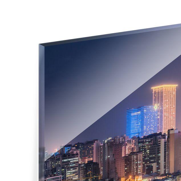 Spritzschutz Glas - Nachtlichter von Macau - Querformat 2:1