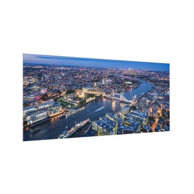 Spritzschutz Glas - Nachts in London - Querformat 2:1