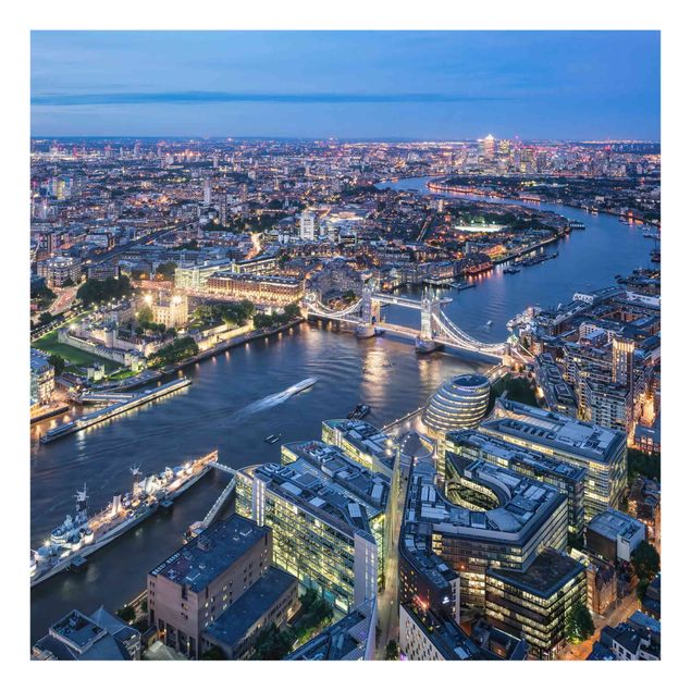 Spritzschutz Glas - Nachts in London - Quadrat 1:1
