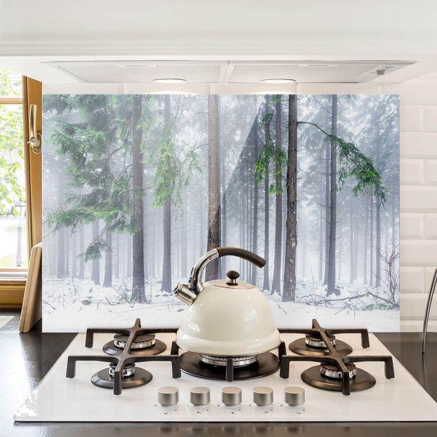 Spritzschutz Glas - Nadelbäume im Winter - Querformat 3:2