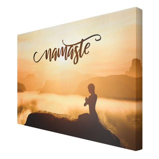 Leinwandbild - Namaste Sonnenaufgang im Gebirge - Querformat 3:2