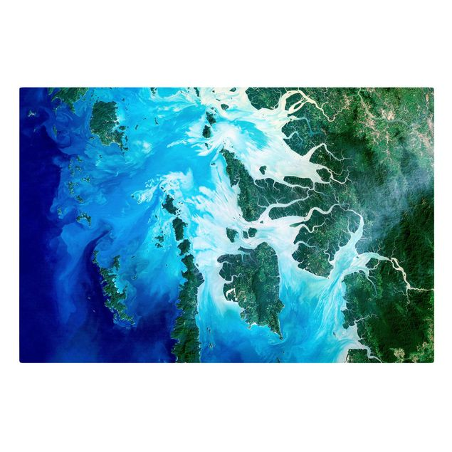 Leinwandbild - NASA Fotografie Archipel Südostasien - Querformat 3:2