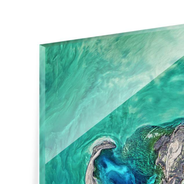 Spritzschutz Glas - NASA Fotografie Kaspisches Meer - Quadrat 1:1