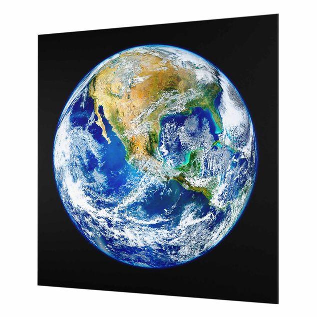 Spritzschutz Glas - NASA Fotografie Unsere Erde - Quadrat 1:1