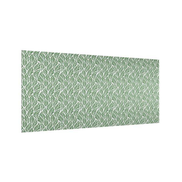 Spritzschutz Glas - Natürliches Muster große Blätter Grün - Querformat 2:1