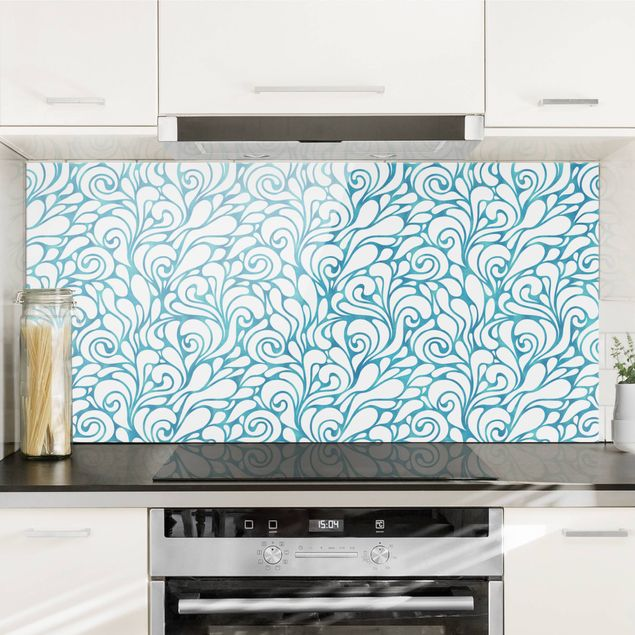 Spritzschutz Glas - Natürliches Muster mit Kringeln in Blau - Querformat 2:1