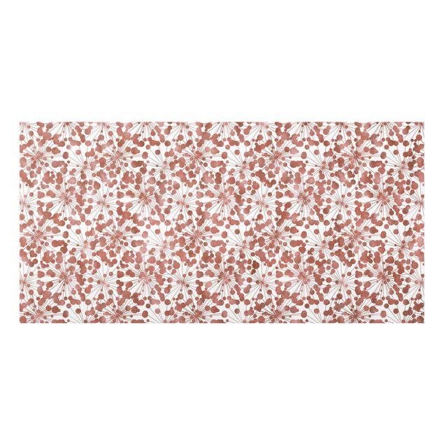 Spritzschutz Glas - Natürliches Muster Pusteblume mit Punkten Kupfer - Querformat 2:1