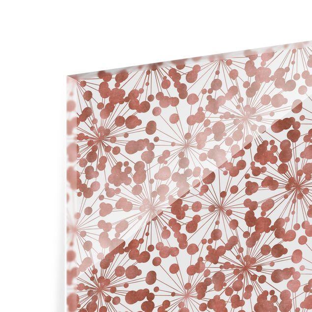 Spritzschutz Glas - Natürliches Muster Pusteblume mit Punkten Kupfer - Quadrat 1:1