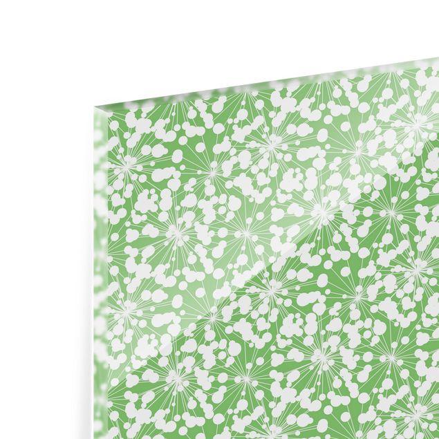 Spritzschutz Glas - Natürliches Muster Pusteblume mit Punkten vor Grün - Querformat 3:2