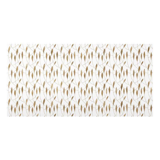 Spritzschutz Glas - Natürliches Muster schwungvolle Blätter in Gold - Querformat 2:1