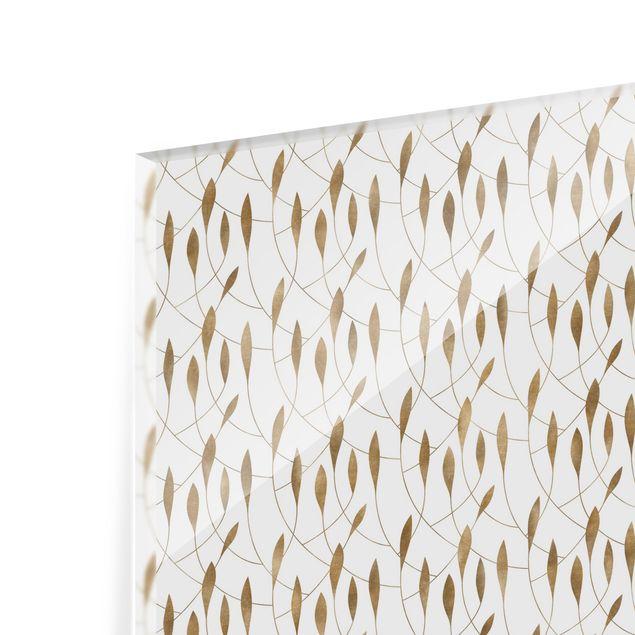 Spritzschutz Glas - Natürliches Muster schwungvolle Blätter in Gold - Querformat 3:2