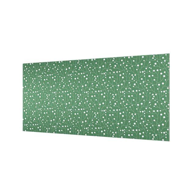 Spritzschutz Glas - Natürliches Muster Wachstum mit Punkten auf Grün - Querformat 2:1