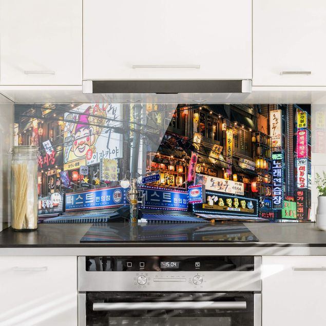Spritzschutz Glas - Neonreklame - Panorama 5:2