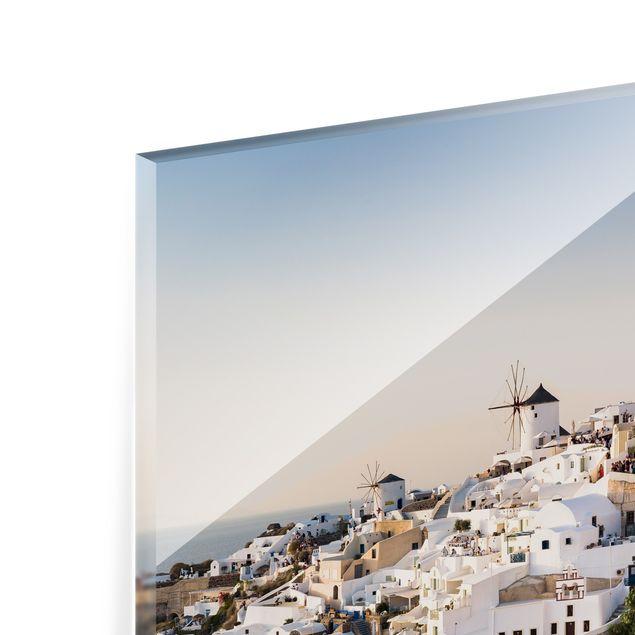 Spritzschutz Glas - Oia Panorama - Querformat 4:3