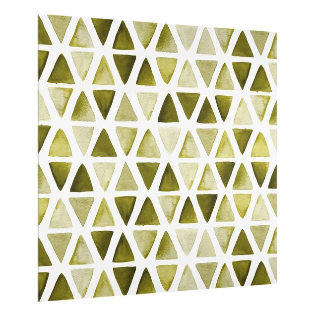 Spritzschutz Glas - Olivgrüne Aquarelldreiecke - Quadrat 1:1