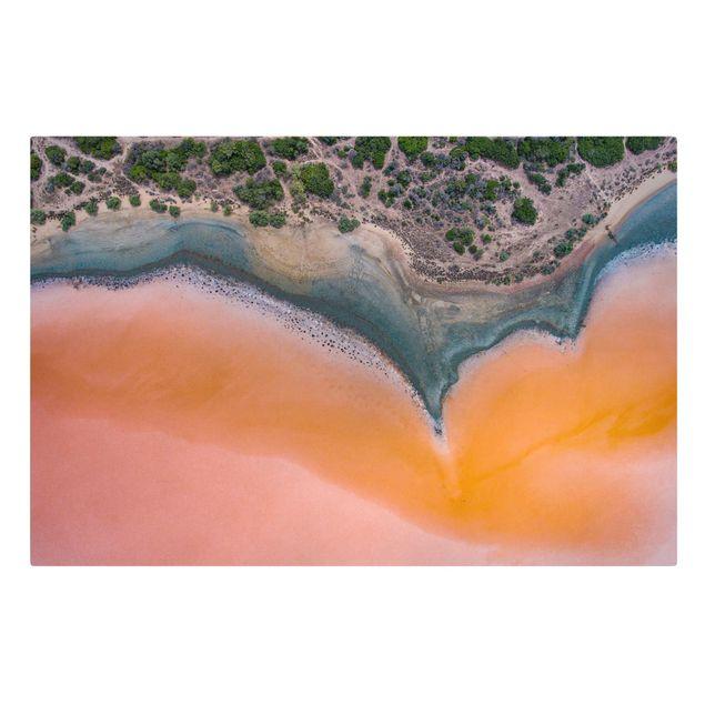 Leinwandbild - Oranges Seeufer auf Sardinien - Querformat 3:2